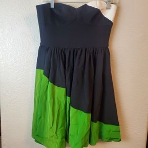 Jay Godfrey Strapless Silk Colorblock Green Dress